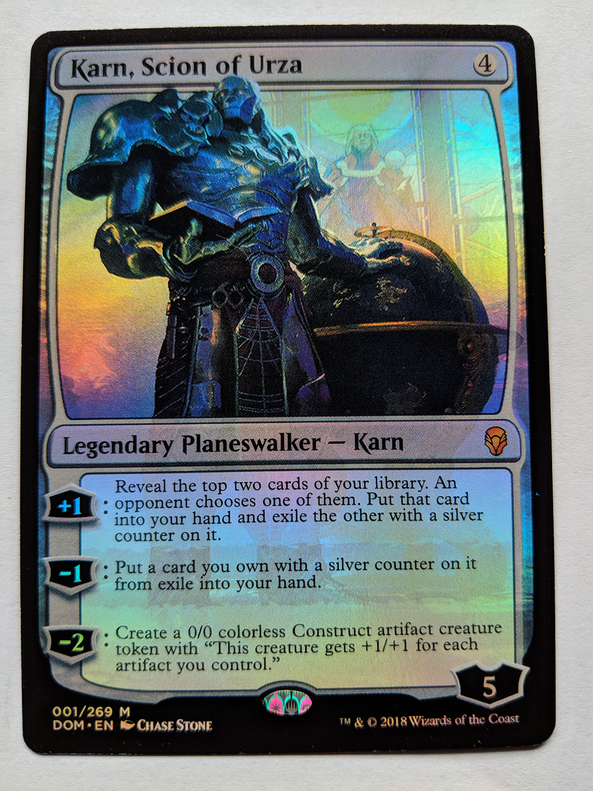FOIL Karn, Scion of Urza from Dominaria Magic the Gathering MTG Proxy Card